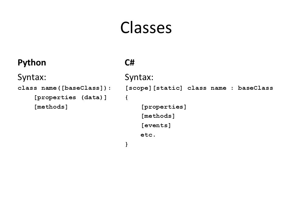 Classes Python C# Syntax: Syntax: class name([baseClass]):